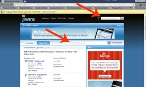 O JiWire permite agrupar os resultados da busca num mapa ou numa lista