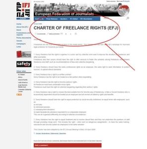 O jornalismo freelance, na Europa, é mais ativo que no Brasil. Acima, uma carta que descreve os direitos do jornalista freelance publicada pela Federação Europeia de Jornalistas