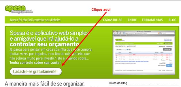 Acesse o Spesa.com.br e cadastre-se de graça